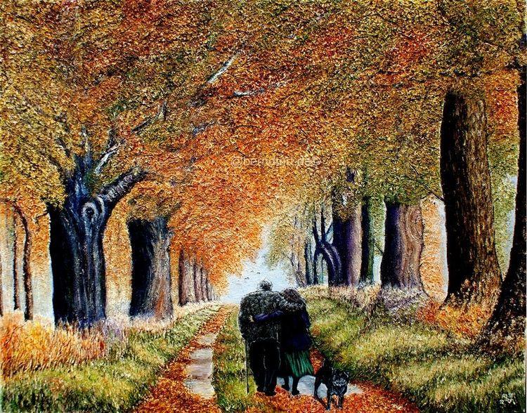 Hund, Herbstwald, Herbst, Gehen, Spaziergang, Post impressionismus