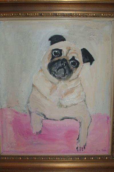 Mops, Rosa, Hund, Hundeblick, Rahmen, Malerei