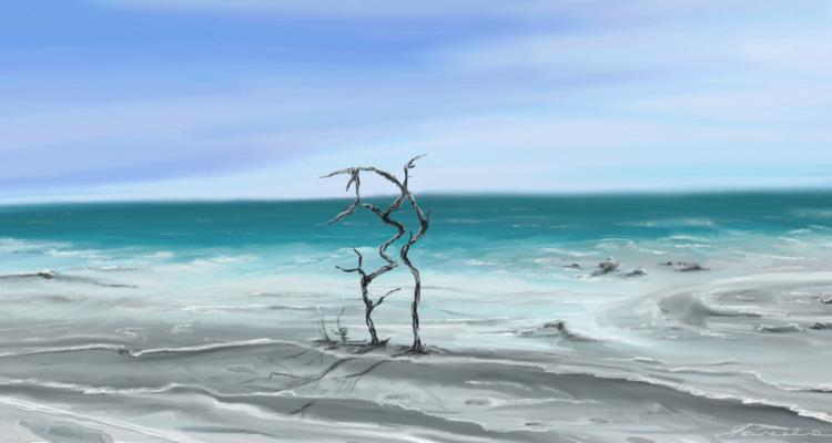 Grafiktablett, Strand, Urlaub, Himmel, Eden, Wasser