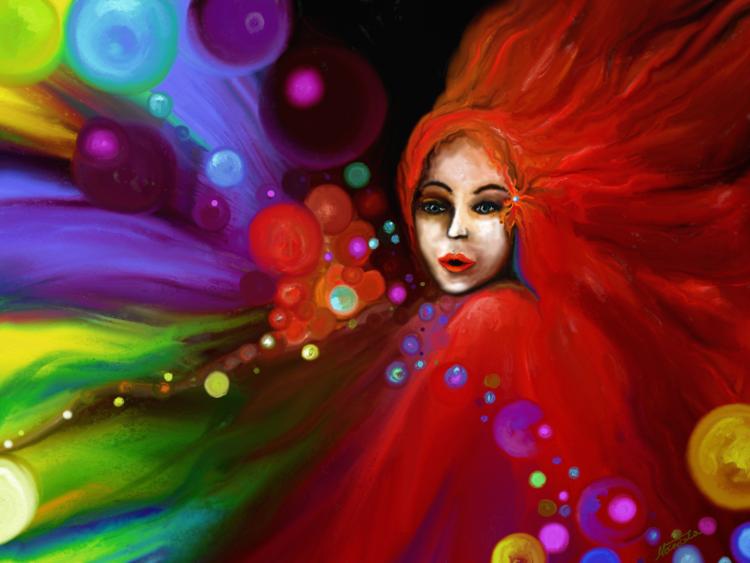 Farben, Gefühl, Haare, Geheimnis, Malen, Moment