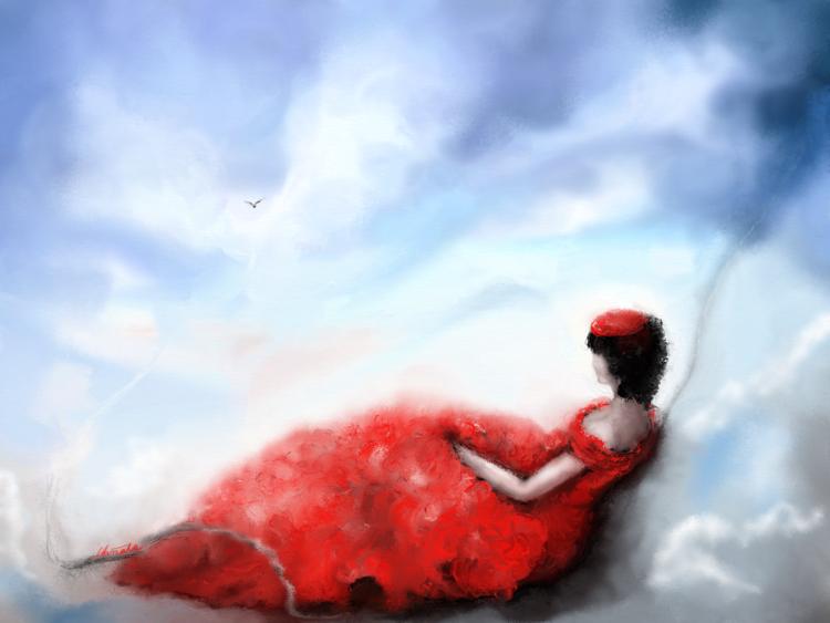 Wind, Wolken, Vogel, Fantasie, Rot, Digital