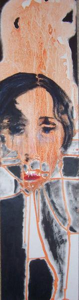 Schwarz, Aprikose, Abgrund, Krank, Frau, Portrait