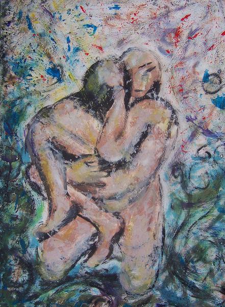 Paar, Innig, Bunt, Acrylmalerei, Umarmung, Malerei
