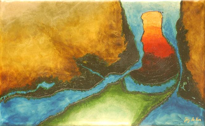 Neutrale jeans, Abstrakte malerei, Ökogemälde, Naturprodukte, Design, Nachhaltigkeit