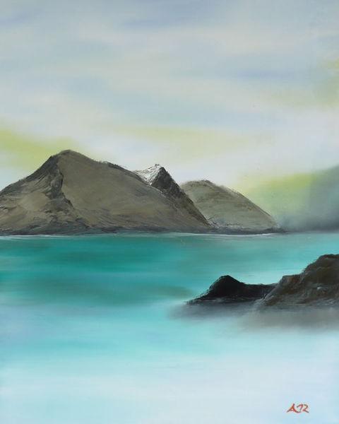 Gemälde, Ölmalerei, Friedlich, Meer, Berge, Meerblick