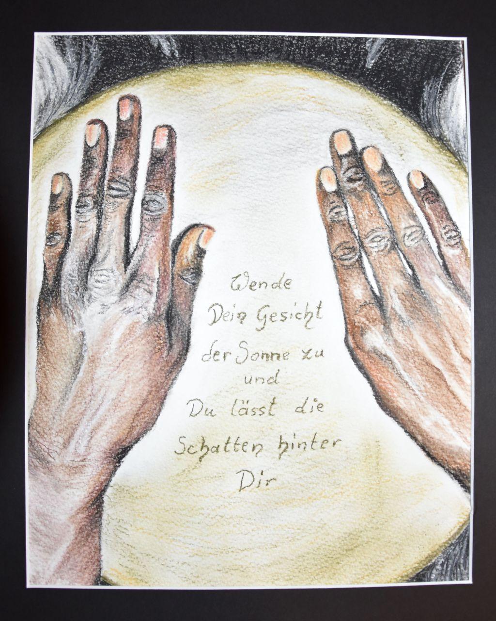 Trommelnde Hände   Hände, Pastellmalerei, Trommel, Zeichnung von