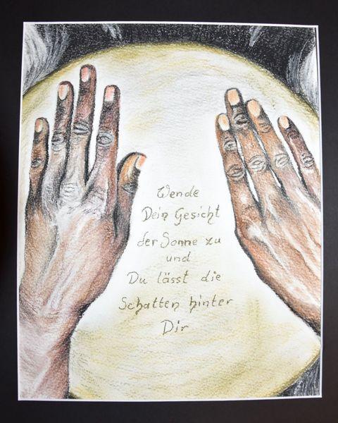 Hände, Trommel, Pastellmalerei, Zeichnung, Lebensweisheit, Sprüche
