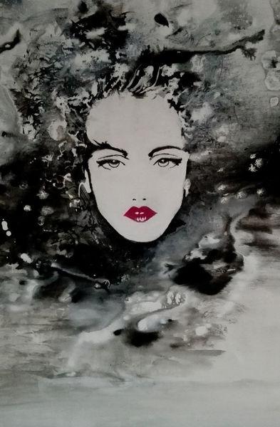 Dame, Schwarz weiß, Acrylmalerei, Malerei