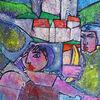Collage, Jesus, Groß, Temperamalerei