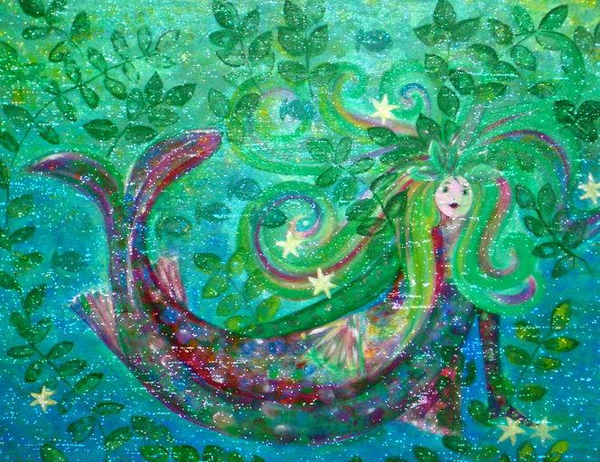 Traumwelten, Märchenhaft, Malerei, Meerjungfrau