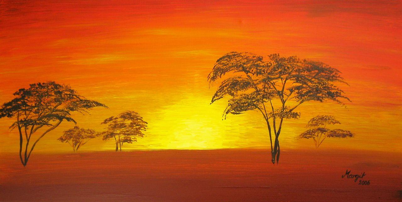 sonnenuntergang acrylmalerei afrika sonnenuntergang malerei von witti bei kunstnet. Black Bedroom Furniture Sets. Home Design Ideas