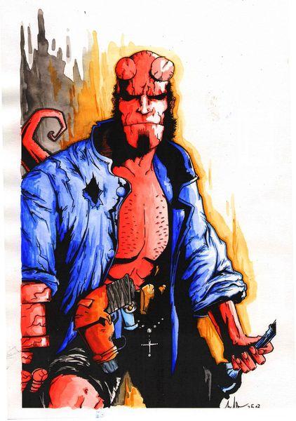 Hellboy, Comic, Zeichnungen, Bunt