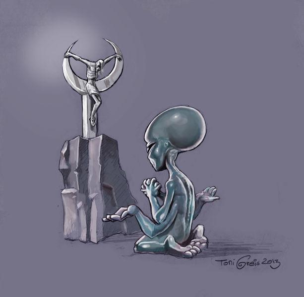 Alien, Altar, Religion, Zeichnungen