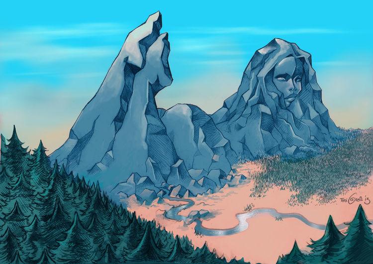 Berge, Wald, Fluss, Illustrationen