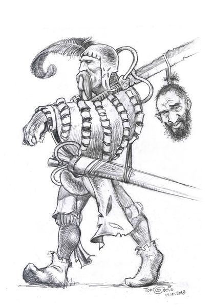 Zeichnung, Söldner, Soldat, Zeichnungen