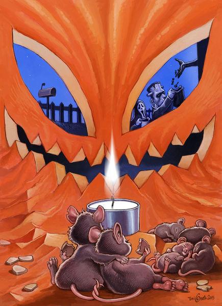 Maus, Familie, Kürbisse, Halloween, Illustrationen