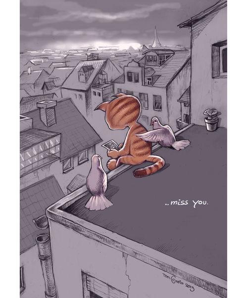 Dach, Katze, Taube, Zeichnungen