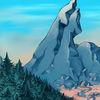 Fluss, Berge, Wald, Illustrationen