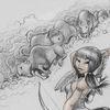 Bogen, Büffel, Zeichnungen,