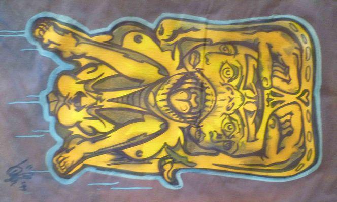 Urban art, Schablonen graffiti, Artmaske, Streetart, Aerosol, Maskbunnyyelloonpurple