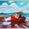 Gegenständlich, Wolken, Acrylmalerei, Strand