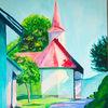 Kirche, Acrylmalerei, Gebäude, Landschaft