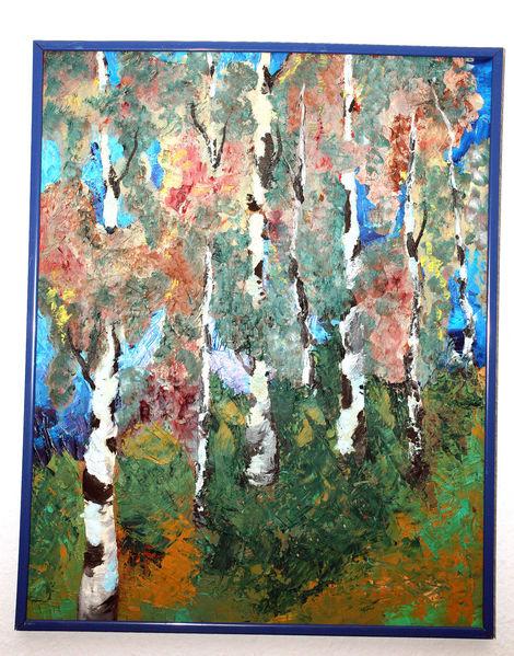 Herbst, Allee, Birken, Malerei