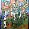 Allee, Birken, Herbst, Malerei