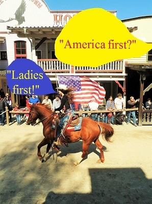 Pullman city, Eingefügte sprechblasen, Pferde, Reiterin, Westernstadt, America first