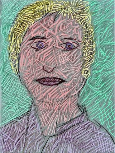 Frau, Hommage, Portrait, Gesicht, Verfremdung, Mischtechnik