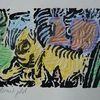 Colorierter holzschnitt, Auflage 10, Künstlernotgeld, Euro