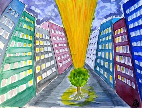 Baum, Trostlos, Haus, Wolken, Hochhaus, Licht
