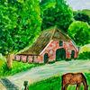 Haus, Farmhaus, Baum, Pferde