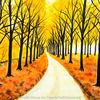 Herbst, Baum, Aquarellmalerei, Landschaft