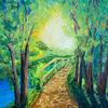 Baum, Sonne, Landschaft, Temperamalerei