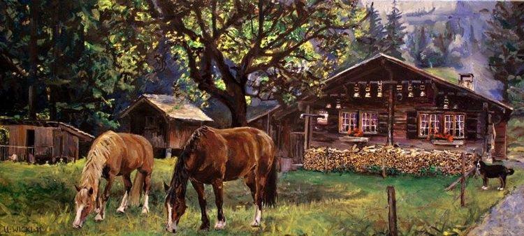 Hütte, Pferde, Hund, Alp, Rosenlaui, Malerei