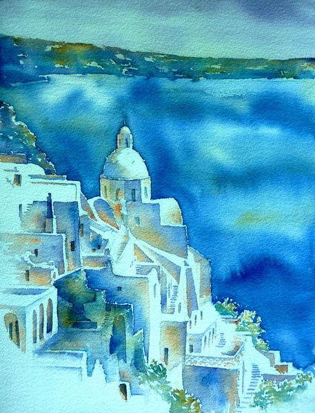 Griechenland, Dom, Fira, Aquarellmalerei, Agioas minas, Santorin