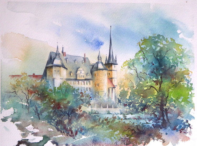 Ahorn, Bayer, Aquarellmalerei, Coburg, Schloss, Ahorner schlosse