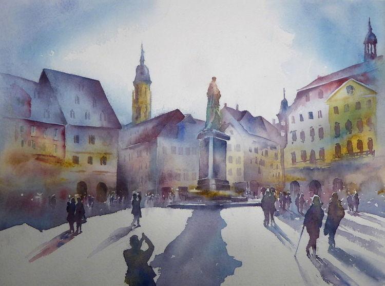 Coburg, Prinz albert, Aquarellmalerei, Marktplatz, Oberfranken, Coburger marktplatz