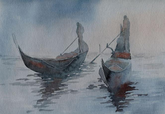 Aquarellmalerei, Gondel, Venedig, Nebel, Aquarell