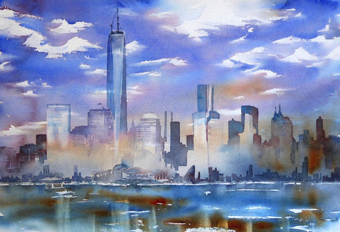 bild nyc newyork skyline one world center von thomas habermann bei kunstnet. Black Bedroom Furniture Sets. Home Design Ideas