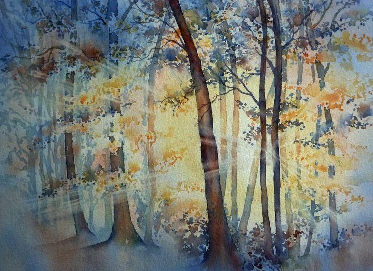 Herbst, Aquarellmalerei, Herbstlicht, Trees bäume, Sonnenstrahlen, Aquarell