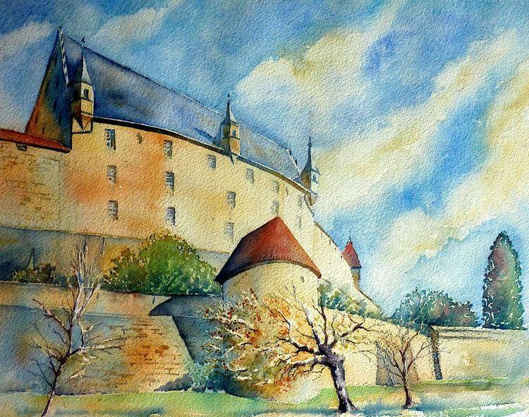 Festung, Herrenhaus, Veste, Oberfranken, Coburg, Aquarellmalerei
