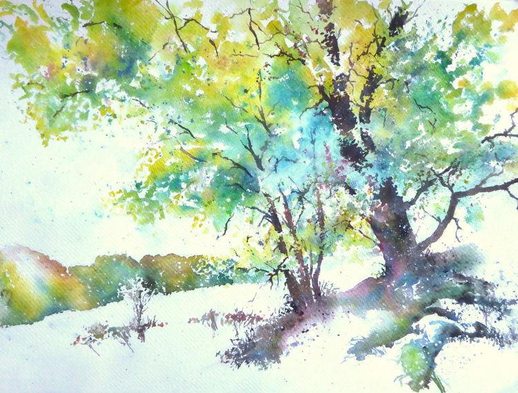 Buch, Herbst, Aquarellmalerei, Rhön, Baum, Mittelgebirge