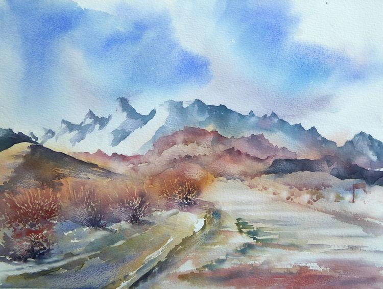 Aquarellmalerei, Westen, Landschaft, Usa landscape, Straße, Aquarell