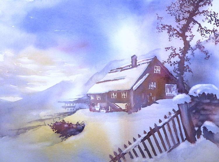 Sonne, Pinzgau, Aquarellmalerei, Österreich, Friedburg, Winter