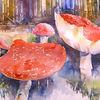Aquarellmalerei, Fliegenpilz, Pilze, Aquarell