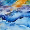 Landschaft, Island, Aquarellmalerei, Aquarell