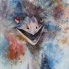 Strauß, Vogel, Lachen, Aquarellmalerei