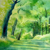 Baum, Sommer, Licht, Aquarellmalerei